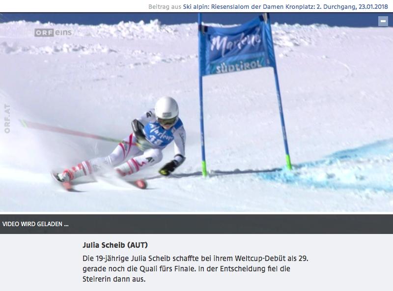 Bild zeigt Screenshot vom ORF Beitrag über Julia Scheib bei ihrem Weltcup-Debüt beim Riesentorlauf am Kronplatz 2018.