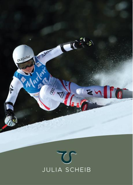 Bild zeigt die Vorderseite Autogrammkarte der österreichischen Skifahrerin Julia Scheib