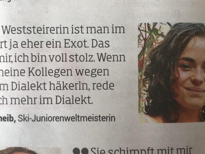 Bild zeigt einen Scan eines lustigen Kommentars der ÖSV Skirennläufern Julia Scheib in der Kleine Zeitung am 19.9.2018.