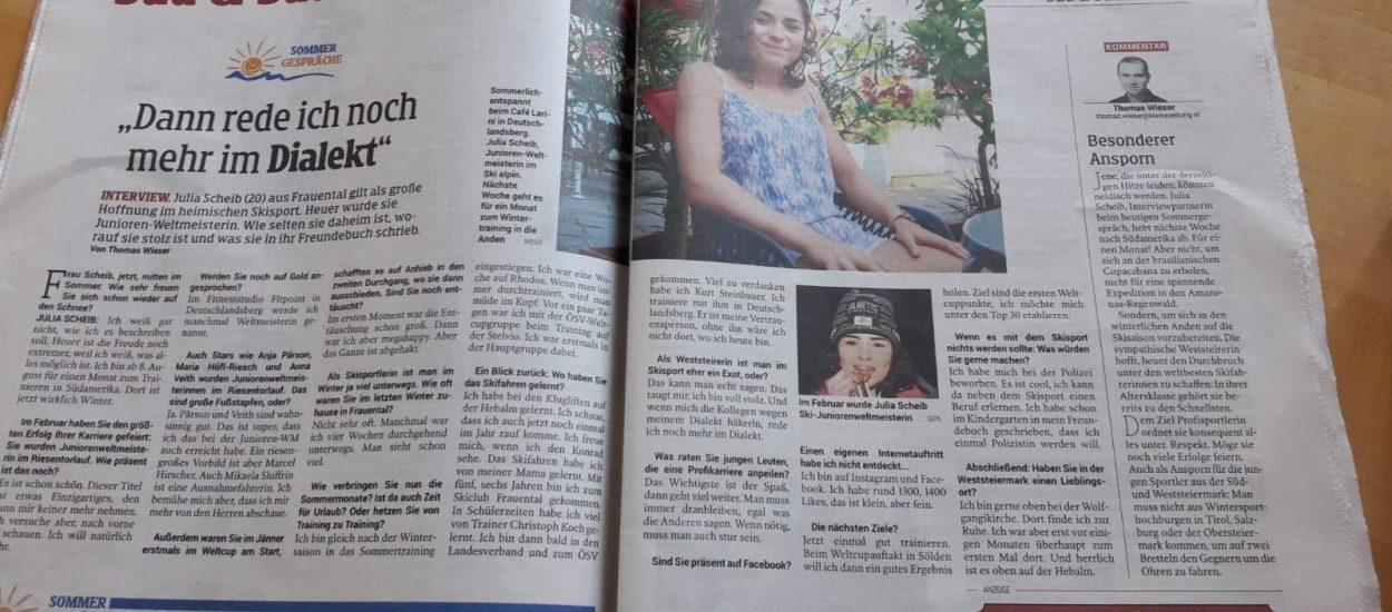 Bild zeigt einen Scan des Sommergesprächs der Kleine Zeitung mit Skifahrerin Julia Scheib am 5.8.2018.