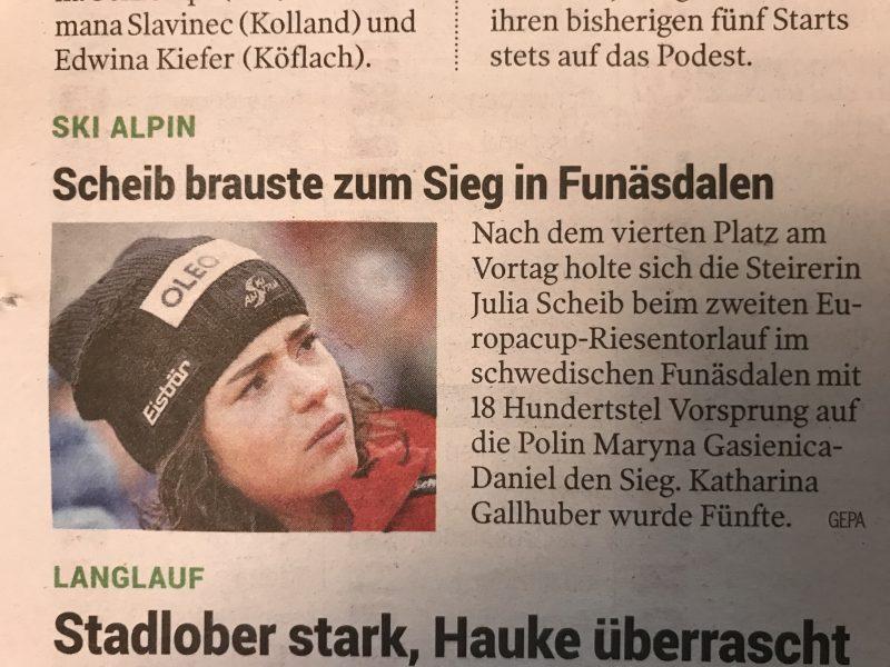 Bild zeigt einen Scan eines Zeitungsartikels der ÖSV Skirennläufern Julia Scheib in der Kleine Zeitung am 9.12.2018.