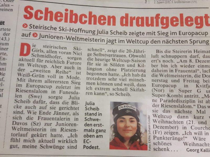Bild zeigt einen Scan eines Zeitungsartikels über Skifahrerin Julia Scheib am in der Kronen Zeitung 10.12.2018.