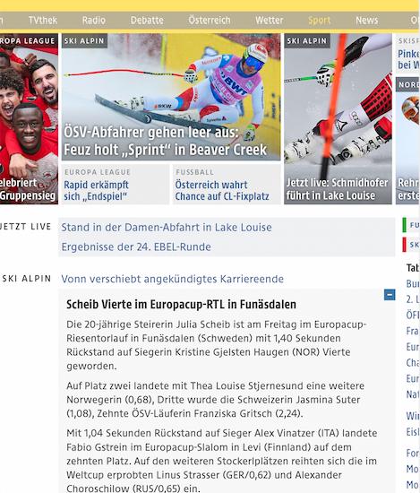 Bild zeigt Screenshot vom ORF Sport Online-Artikel über Julia Scheib am 30.11.2018.