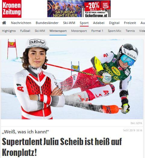 Bild zeigt Julia Scheib im Rennen und davor stehend