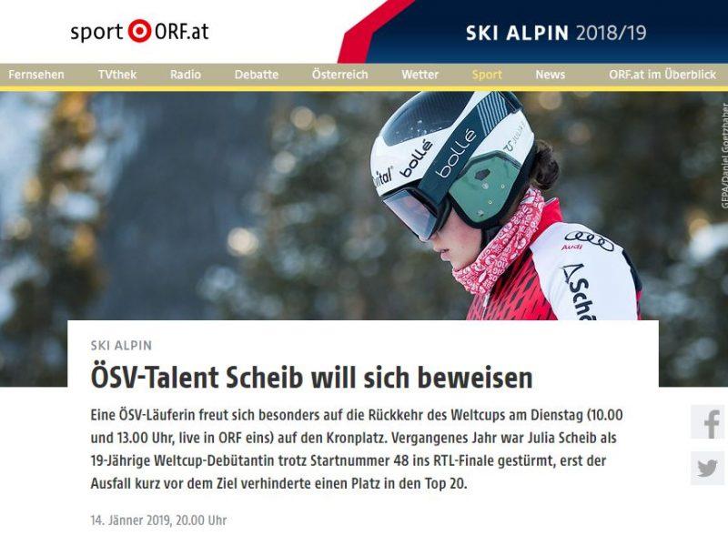 Julia Scheib im Profil mit Skihelm und Brille