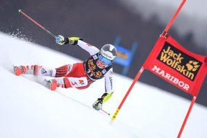 Das Bild zeigt die österreichische Skirennläuferin Julia Scheib während ihrer Laufes zu ihren ersten Weltcuppunkten in Marburg.