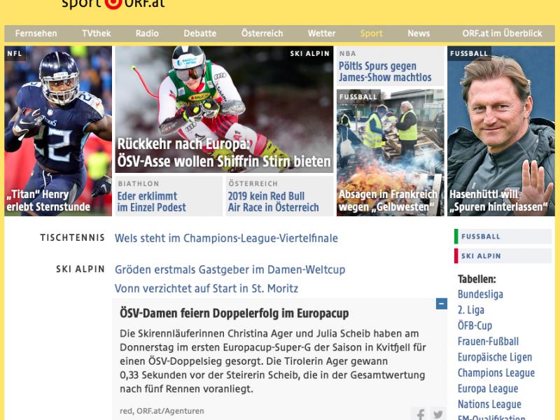 Bild zeigt Screenshot vom ORF Sport Online-Artikel über Julia Scheib am 6.12.2018.