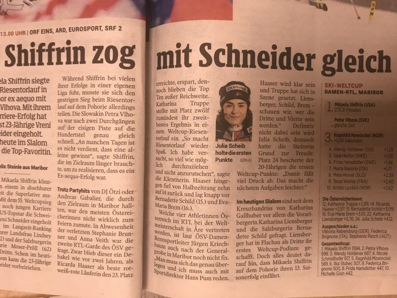 Bild zeigt einen Zeitungsartikel über Julia Scheib in der Kleinen Zeitung vom 2. Februar 2019