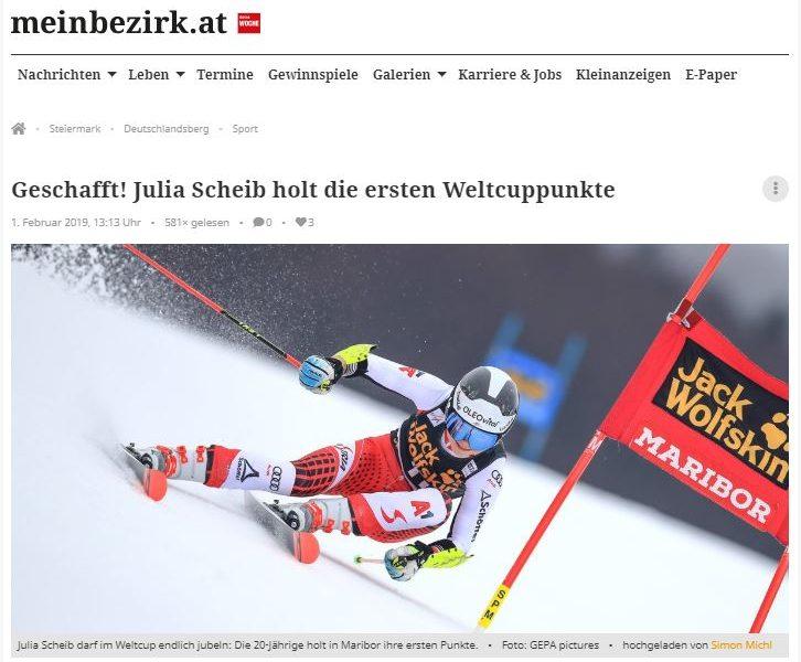 Bild zeigt die Skirennläuferin Julia Scheib beim Rennen in Marburg